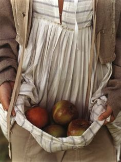 Held...an apron of apples.