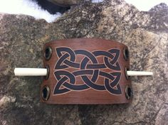Celtic knot hand carved leather hair barrette  by DIONESAMBROZIUS