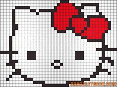 Alpha friendship bracelet pattern added by loop hello kitty cute little face. Bead Loom Patterns, Perler Patterns, Beading Patterns, Knitting Patterns, Crochet Patterns, Hello Kitty Crochet, Hello Kitty Bow, Tapestry Crochet, Crochet Motif