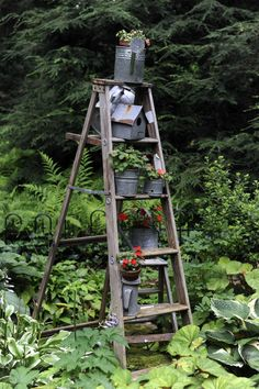 Hmmm, this might work for an herb garden on the patio if I add shelves across.