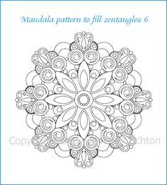 Mandala Pattern To Fill Zentangles Or Coloring Page PDF Download Hand