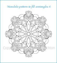 Mandala pattern to fill zentangles or coloring, mandala coloring page, PDF download, hand drawn designs.