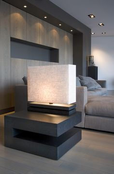 ♂ Modern minimalist interior design. Grey bedroom, modern table lamp, accent lighting, modern bedside table.