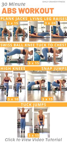 This intense 30 minute abs workout will help you build beautiful sculpted six pack abs. Click through for the step by step exercise videos and instructions so you can ensure proper form and great results. Abs Workout Routines, Workout Videos, Fun Workouts, Exercise Videos, Core Workouts, Daily Workouts, Fitness Workouts, Fitness Tips For Women, Abs Workout For Women