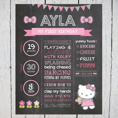 Printable Hello Kitty Birthday Chalkboard, Birthday Chalkboard Poster, Hello Kitty Poster, Printable Birthday Sign, Hello Kitty Printables by TheEdgyEnvelope on Etsy