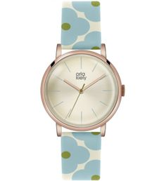 Buy Green/Cream Orla Kiely Women's Floral Strap Leather Strap Watch from our Women's Watches range at John Lewis & Partners. Orla Kiely Watch, Orla Keily, Watch Sale, Blue Cream, Watch Brands, Rose Gold Plates, Quartz Watch, Leather, Accessories