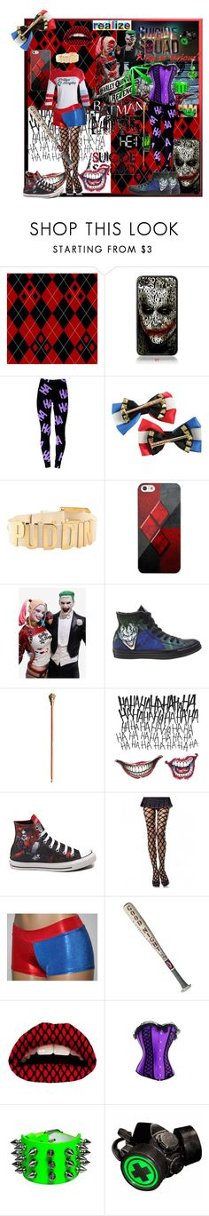 """tainted love"" by aqua-lunastar23 ❤ liked on Polyvore featuring DC Comics, Samsung, Converse, Leg Avenue, Violent Lips and GAS Jeans"