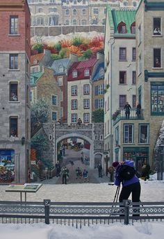 Vieux Québec, Canada.-Mural.   It's near the Place Royale, and if you look closely, you can see how the artist tried to fit over 400 years' worth of history into one picture.  For example, can you see the man in 17th century clothing next to some hockey players?