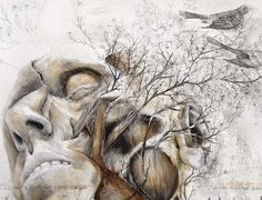 Taking the analogy comparing blood vessels and tree branches literally, Nunzio Paci (previously) creates oil and graphite paintings that connect humans back to nature. Paci's works look almost straight from a medical textbook except for one flaw—the trees and animals that sprout from his subjects' m