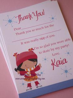NEW...Ice Skating Thank You Card -Digital File. $12.00, via Etsy.