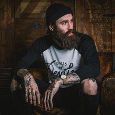 Ricki Hall full thick dark beard and mustache beards bearded man men mens' street style clothing fashion winter bushy hairy tattoos tattooed #beardsforever