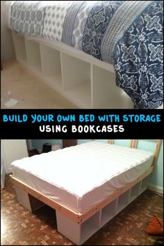 Using bookcases as a bed frame is one easy way to build a bed with storage! Is this going to be your next DIY project? furniture projects Build your own bed with storage using bookcases Diy Furniture Hacks, Furniture Projects, Home Furniture, Bedroom Furniture, Pallet Furniture, Furniture Storage, Rustic Furniture, Furniture Market, Cheap Furniture
