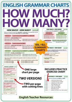 How Much? - English Grammar Charts for the ESOL classroom. Teaching English Grammar, German Language Learning, Grammar Lessons, English Writing, English Study, English Vocabulary, English Tips, English Lessons, English English