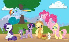 Rainbow Dash, Pinkie Pie, Rarity, Twilight Sparkle, Fluttershy, Apple Jack and Spike the Dragon