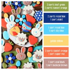 How to make Easter bunny icing colors – a cookie decorating icing color palette … - Cake Decorating Simple Ideen Cocoa Cookies, Iced Cookies, Easter Cookies, Cookies Et Biscuits, Sugar Cookies, Christmas Cookies, Pig Cookies, Baby Cookies, Royal Icing Cookies