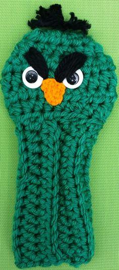 Golf Club Cover Green Angry Bird by CrochetedHeadwear on Etsy