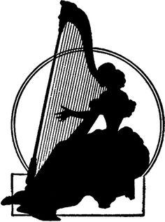 Vintage Harp Lady Silhouette - The Graphics Fairy