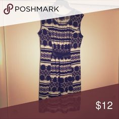 Dress Stretchy fabric. Faux-leather detail. Royal blue detail in pattern. Great for work. Worthington Dresses Mini