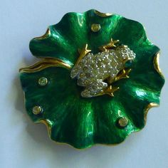 Vintage PANETTA  Rhinestone Frog - Green Enamel Lily Pad Brooch / Pin  SIGNED #Panetta