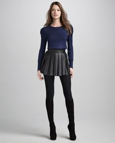 Box-Pleat Leather Skirt by Alice + Olivia at Neiman Marcus.
