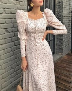Solid Hollow Out Lace Lantern Sleeve Dress Casual Dresses For Women, Cute Dresses, Beautiful Dresses, Clothes For Women, Floral Dresses, Classy Outfits, Trendy Outfits, Jw Moda, Women's Fashion Dresses
