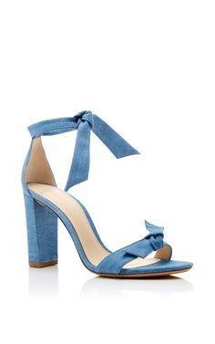 Alexander Birman Clarita Bow Embellished Sude Denim Sandals