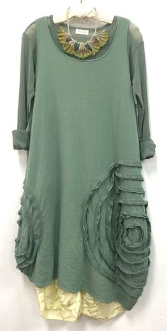 Long Cabbage Rose Slip..... so fabulous here in jade cotton sweatshirt fabric..... with a Single Layer Stretch Tulle Tee and daffodil linen Armadillo Pants.