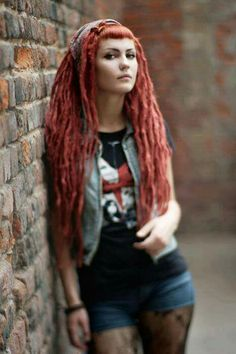 Red dreadlocks with bangs