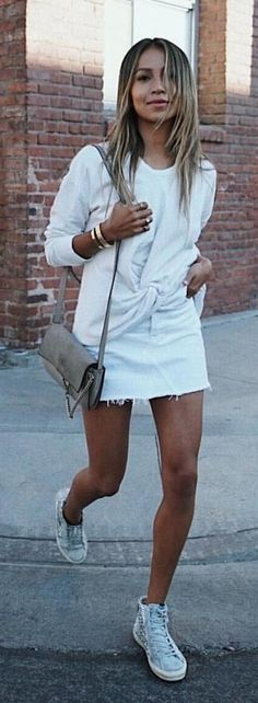 #spring #outfits woman wearing white sweater. Pic by @world_fashion_styles