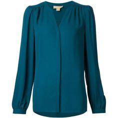 Michael Kors slit neck longsleeved blouse ($930) ❤ liked on Polyvore featuring tops, blouses, green, long sleeve blouse, silk top, michael kors, blue blouse and michael kors blouse