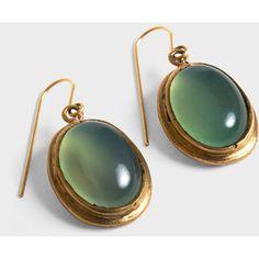 Green Agate Cab Earrings