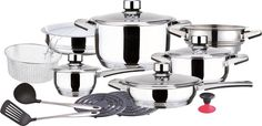 Sameellihos 19-Piece Surgical Stainless Steel Cookware Set, Includes Induction Compatible Fry Pots, Pans, Saucepan, Casserole, Steamer *** Want to know more, click on the image.