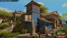 ArtStation - The Witcher 3 Architectural Material, Jacek Maj Fantasy City, Fantasy World, Environment Concept Art, Environment Design, Minecraft Welten, Gothic Buildings, Architectural Materials, Village Photos, Italian Village