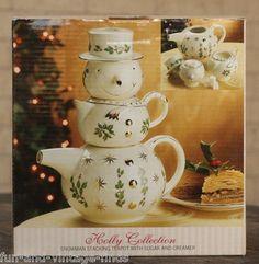 Formalities Baum Bros. Christmas SNOWMAN TeaPot Sugar Creamer Tea Coffee Set   eBay