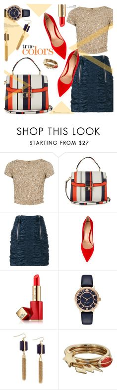 """""""Red, Gold & Blue"""" by stacey-lynne ❤ liked on Polyvore featuring Alice + Olivia, Dolce&Gabbana, J.W. Anderson, Gianvito Rossi, Estée Lauder, Kate Spade, INC International Concepts and Sam Edelman"""