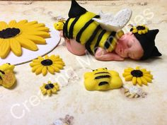Bee Baby and Sun Flower Cake Topper Set  Large Baby by anafeke, $27.00