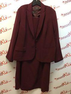 12956e107e7 Talbots Size 22W Wine Red Sheath Dress and Jacket