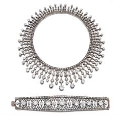 Cushion-Shaped, Circular-Cut And Rose-Cut Diamond Demi-Parure Consisting Of A Necklace and Bracelet c. Late 19th Century   -   Sotheby's