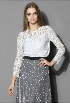 Sheer Baroque Lace Top in White