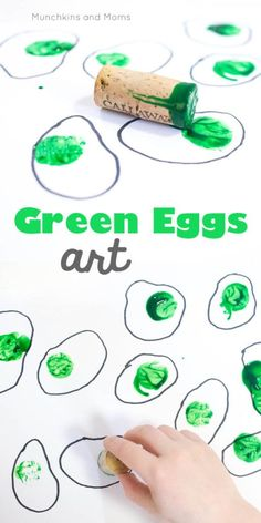 Eggs and Ham Art Green Eggs and Ham art based on the popular Dr. Perfect for Read Across America/ Dr. Seuss' birthdayGreen Eggs and Ham art based on the popular Dr. Perfect for Read Across America/ Dr. Dr Seuss Art, Dr Seuss Week, Dr Seuss Preschool Art, Daycare Crafts, Preschool Activities, Time Activities, Infant Activities, March Lesson Plans, March Themes