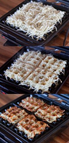 Cook hash browns in a waffle iron. They shrink considerably, so add a heap to the iron when you do it. And it gets them really crispy without excessive oil! What a great idea!  v2ojjvMqrMRRjm401bqcAywRAZN (455×945)