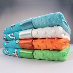 Bumble Bees Aqua w/ Dot Velour Blanket - Boys Blankets - Blankets