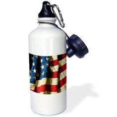 3dRose USA Flag American America Banner Stars Stripes Torn Old Holes Used Grunge Grungy Abused Ripped, Sports Water Bottle, 21oz