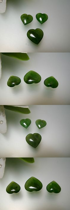 Other Jade 10231: Top Quality 3Pcs Match Heart Shape Nature Green Chinese Jade 9.6X9.6, 12X12 Mm BUY IT NOW ONLY: $37.99