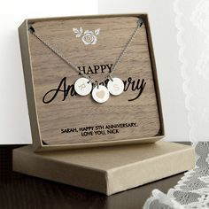 Personalized Happy Anniversary Necklace With Keepsake