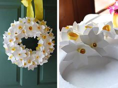 Craft a bouquet of daffodils for your spring wreath How To Make Paper Flowers, Paper Flowers Diy, Diy Paper, Easter Crafts, Crafts For Kids, Paper Flower Wreaths, Papier Diy, Fleurs Diy, Paper Flower Tutorial