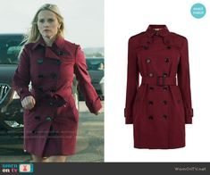 Madeline's red trench coat on Big Little Lies.  Outfit Details: https://wornontv.net/66235/ #BigLittleLies