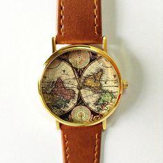 Map Watch, Vintage Style Leather Watch, Women Watches, Mens Watch, Boyfriend Watch, black Watch, World Map,