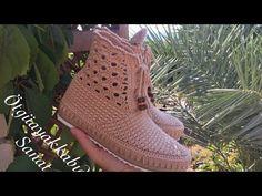 Crochet Slipper Boots, Crochet Sandals, Crochet Baby Shoes, Slipper Socks, Crochet Slippers, Crochet Motif, Knit Crochet, Crochet Patterns, Bling Flip Flops