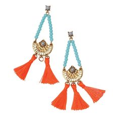 By Avon Sunny Days Earrings. Chandelier earrings with light blue beads forming a triangle and connecting to a hammered brass casting that has 3 separate bright orange tassels connected to it at the bottom. Avon Mark, Shops, Beauty Companies, Skin So Soft, Blue Beads, Chandelier Earrings, Round Beads, Cross Pendant, Triangle